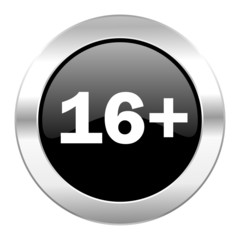 adults black circle glossy chrome icon isolated