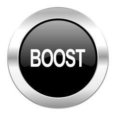 boost black circle glossy chrome icon isolated