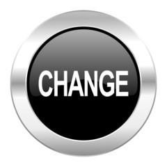 change black circle glossy chrome icon isolated