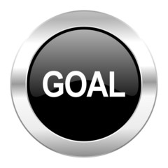 goal black circle glossy chrome icon isolated