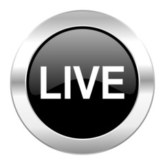 live black circle glossy chrome icon isolated
