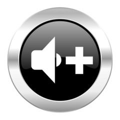 speaker volume black circle glossy chrome icon isolated