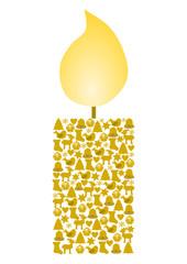 Kerze aus verschiedenen goldenen Weihnachtssymbolen gebildet