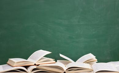 books front green blackboard