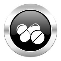 medicine black circle glossy chrome icon isolated