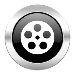 film black circle glossy chrome icon isolated