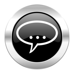 forum black circle glossy chrome icon isolated