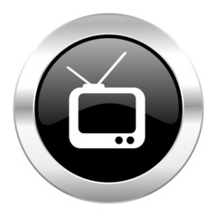 tv black circle glossy chrome icon isolated