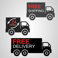 Vector of icons shipments and free delivery.