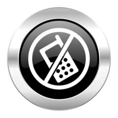 no phone black circle glossy chrome icon isolated