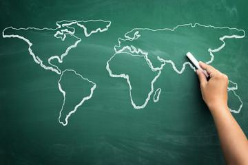 World map on a school blackboard