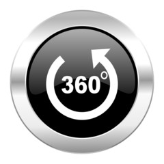 panorama black circle glossy chrome icon isolated