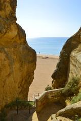 Steps down to Senhora Da Rocha Nova Beach in Portugal
