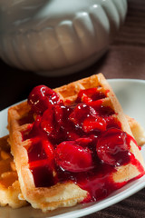 waffles with cherry jam