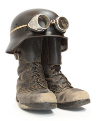 Retro military helmet and boots (biker's accessories).