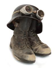 Retro military helmet and boots (biker's accessories).