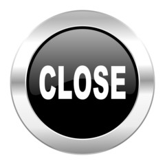 close black circle glossy chrome icon isolated