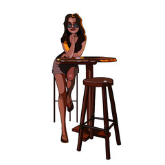 cartoon girl with glasses sitting on a bar stool at the table