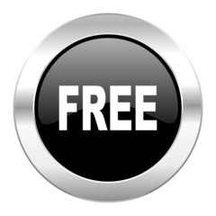 free black circle glossy chrome icon isolated