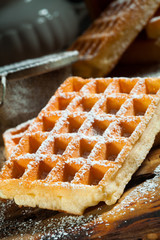 waffles with powdered sugar