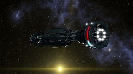 Spaceship with Warp Drive opening a wormhole