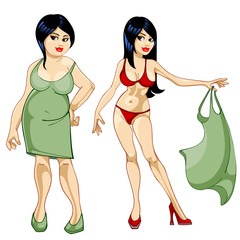 Thick girl in a dress and a thin girl in a bathing suit