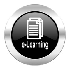 learning black circle glossy chrome icon isolated