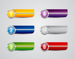 Horizontal colorful options banners buttons