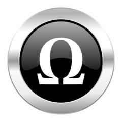 omega black circle glossy chrome icon isolated