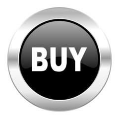 buy black circle glossy chrome icon isolated
