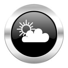 cloud black circle glossy chrome icon isolated