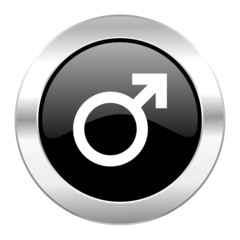 male black circle glossy chrome icon isolated
