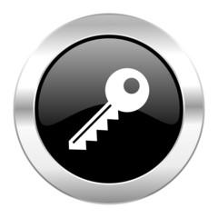 key black circle glossy chrome icon isolated