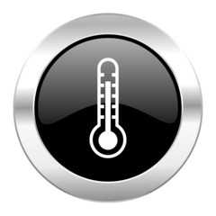 thermometer black circle glossy chrome icon isolated