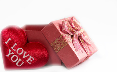 Unboxed gift box with heart