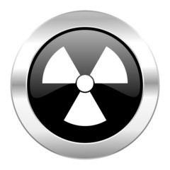 radiation black circle glossy chrome icon isolated