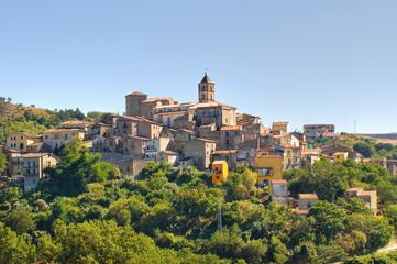 Panoramic view of Cancellara. Basilicata. Italy.