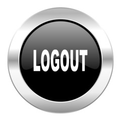 logout black circle glossy chrome icon isolated