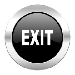 exit black circle glossy chrome icon isolated