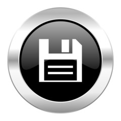 disk black circle glossy chrome icon isolated