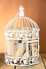 White decorative cage and bunch of rolled papers inside