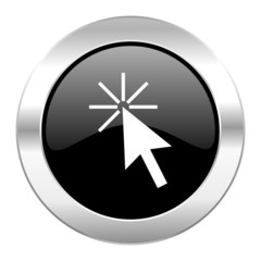 click here black circle glossy chrome icon isolated