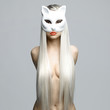 Sexy blonde in cat mask