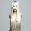 Sexy blonde in cat mask