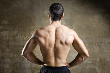 Young man muscle back portrait