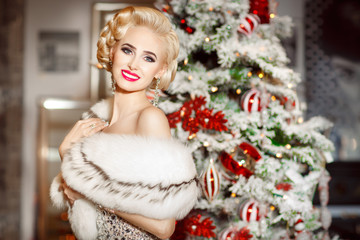Fashion sexy woman at Christmas party, new year