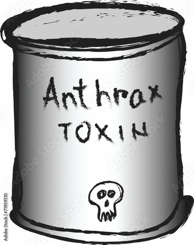 poster of doodle can of anthrax toxin
