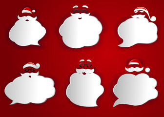 Santa Speech Bubbles Silhouettes