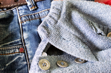 Texture - Textile: blue jeans and a wool sweater
