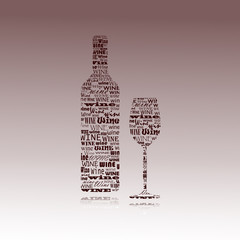 silhouette of wine and glass drawn with words.